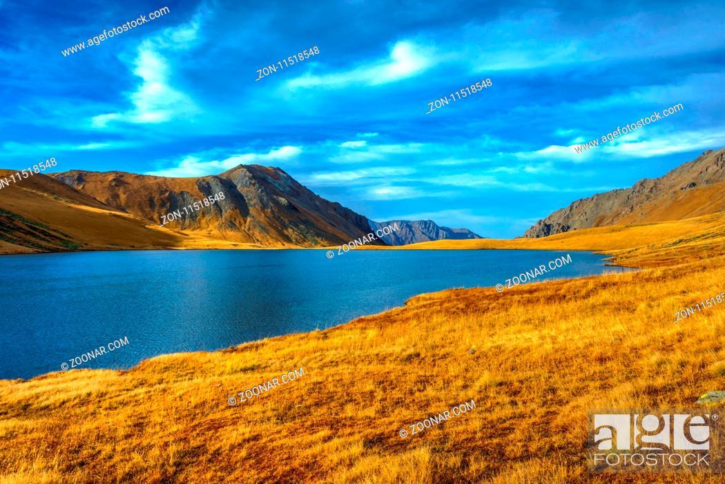 Stock Photo: Black Rock lake in autumn colors, border lake between Georgia and Russia, Lagodekhi national park, Georgia.