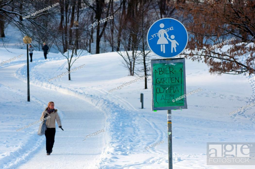 Stock Photo: Olympic park in Munich, Germany, under heavy snow with directions to a beer garden where the beer is served ice cold!.