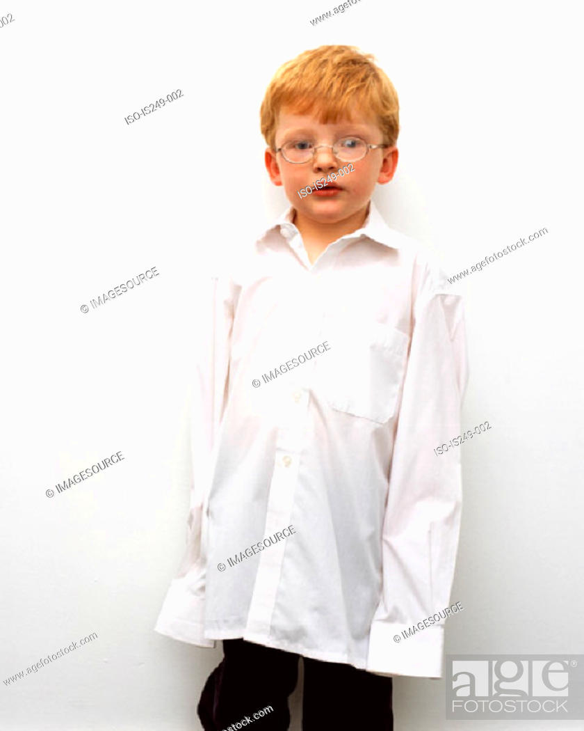 Stock Photo: Young boy in oversized shirt.