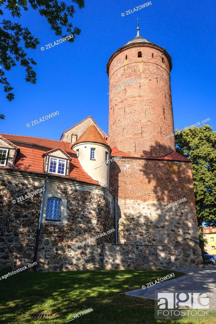 Stock Photo: Tower of medieval knights castle in Swidwin, capital of Swidwin County in West Pomeranian Voivodeship of northwestern Poland.