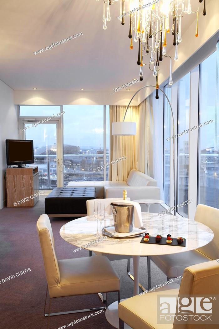 Stock Photo: Luxury Hotel suite at St Davids Hotel, at Cardiff bay, south Wales.