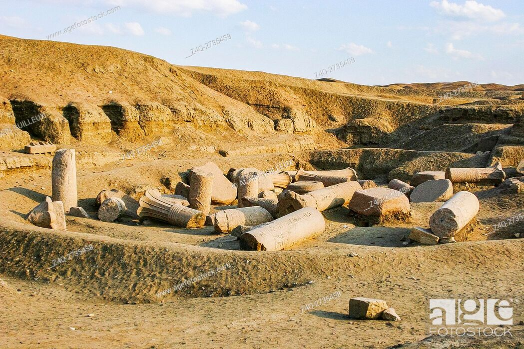Stock Photo: Egypt, Nile Delta, Tanis, the East temple, built by Ramses II and reused by Osorkon II.