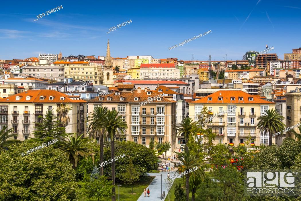 Stock Photo: Cityscape. Panoramic view of Santander, Cantabrian Sea, Cantabria, Spain, Europe.