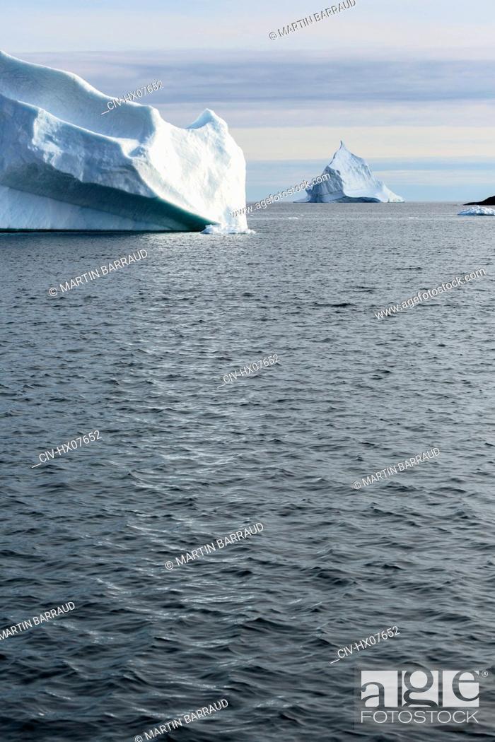 Stock Photo: Icebergs above Atlantic Ocean Greenland.