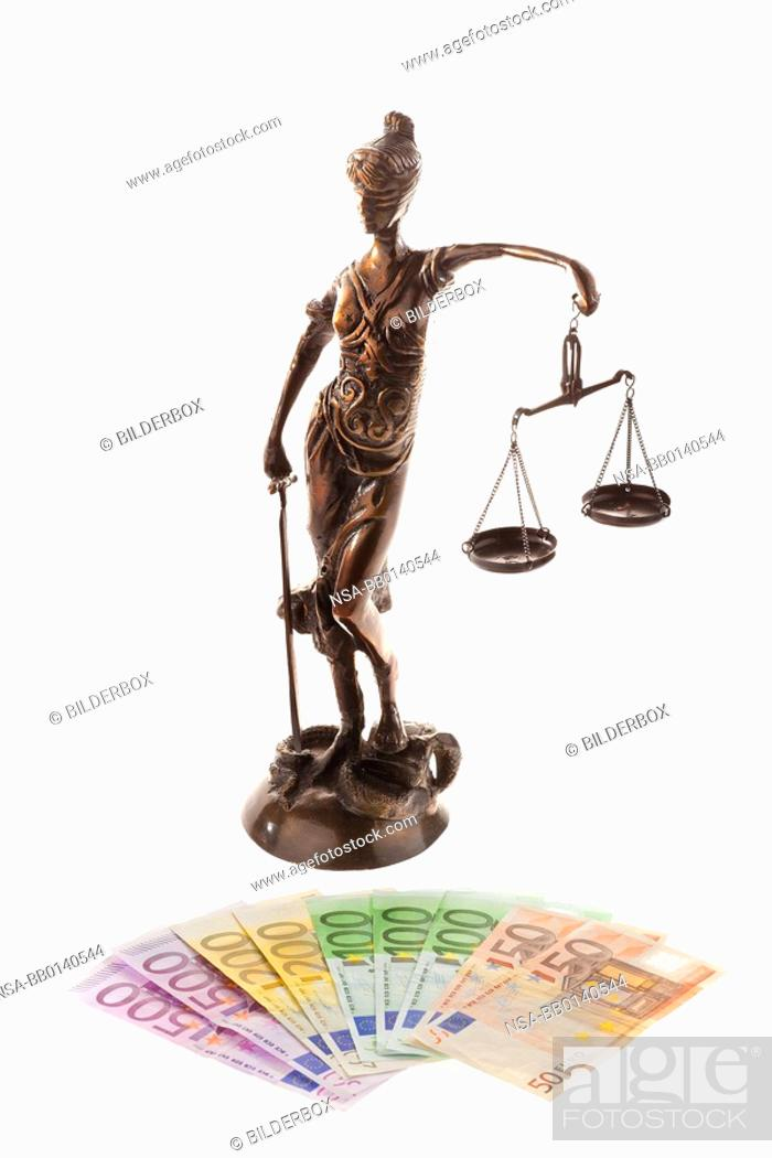 Justice With Scales And The Euro Symbol Of Justice Stock Photo