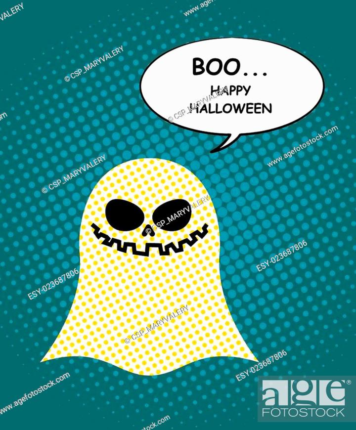Vector: Boo Happy Halloween. Ghost of pop art and bubble. Pretty good ghost symbol of dreaded holiday. Vector illustration.