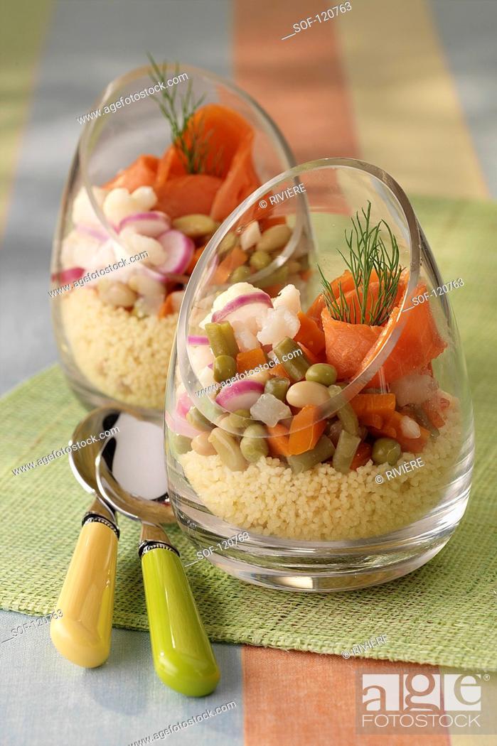 Stock Photo: Verrine of fresh vegetables and smoked salmon.