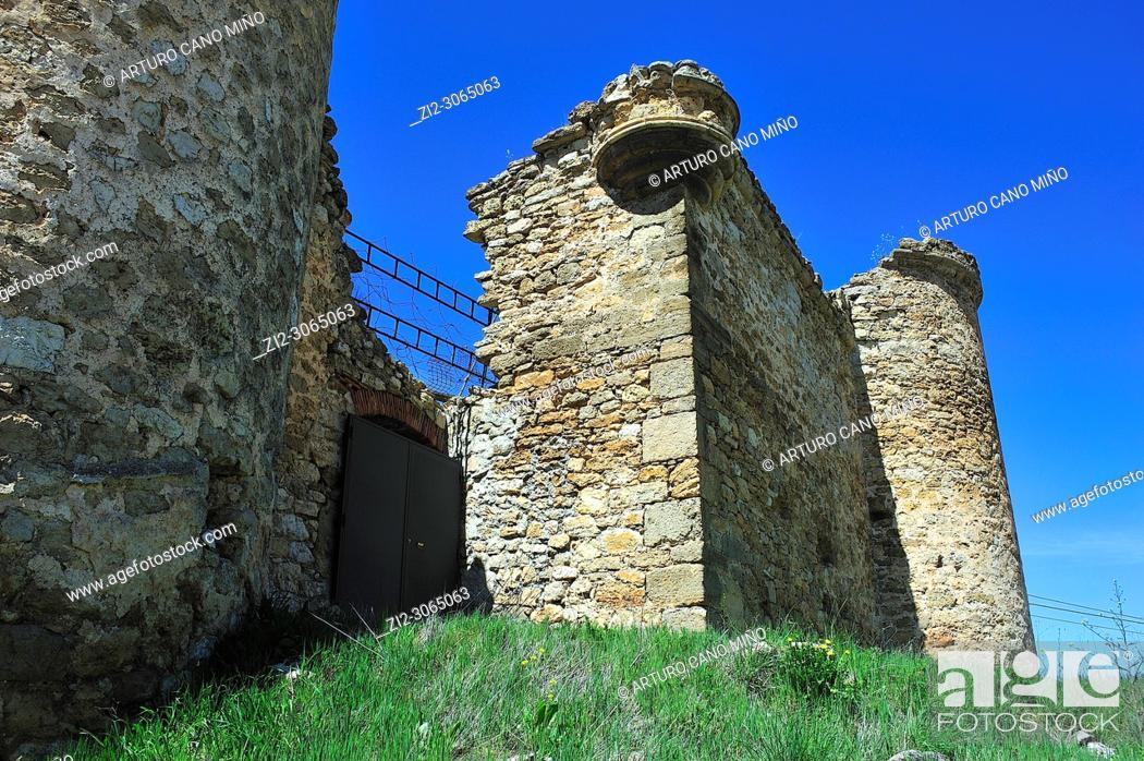 Stock Photo: The Castle of Malasombra, XIII-XVth centuries, Estables town, Guadalajara province, Spain.