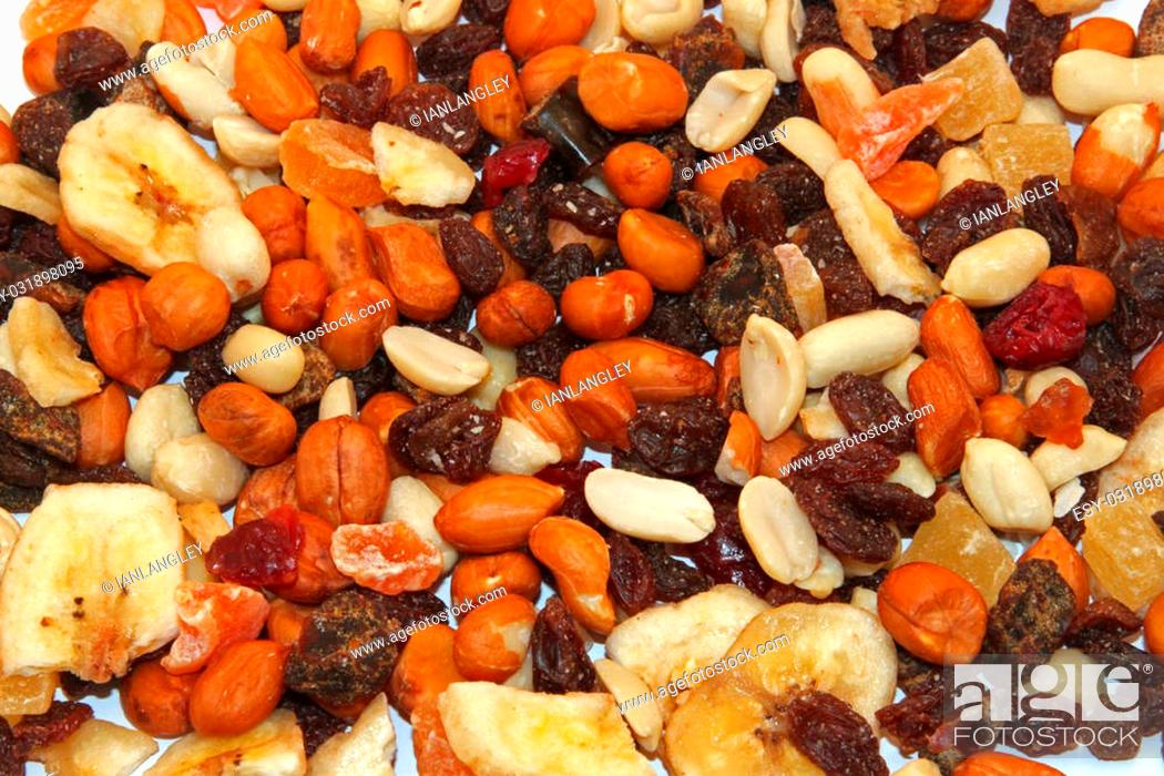 Stock Photo: Close up of mixed dried fruit and nuts.