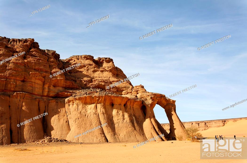 Stock Photo: Natural rock formation in the Akakus Mountains, Libya.