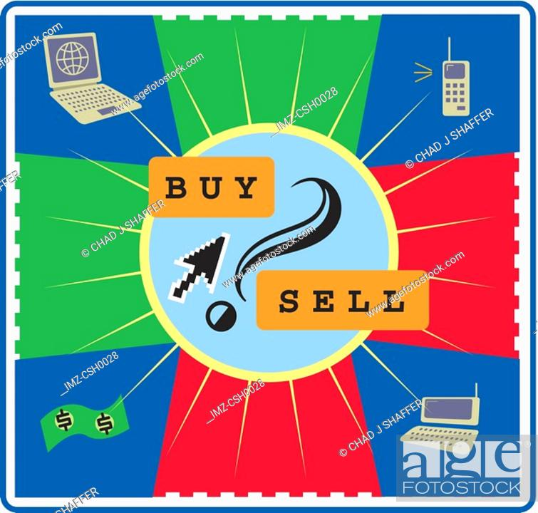 Stock Photo: The buying and selling activities via the information technology.