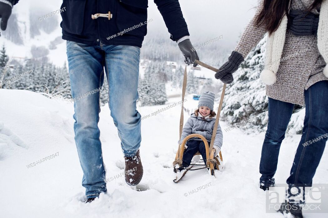 Stock Photo: Family with sledge in winter landscape.