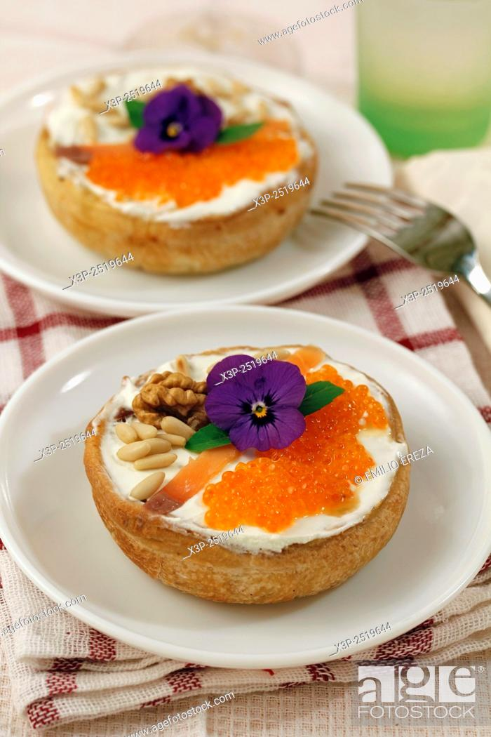 Stock Photo: Caviar tartlets with pine nuts.