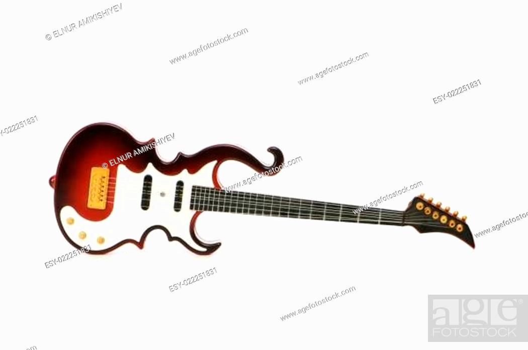 Imagen: Wood guitar isolated on the white background.