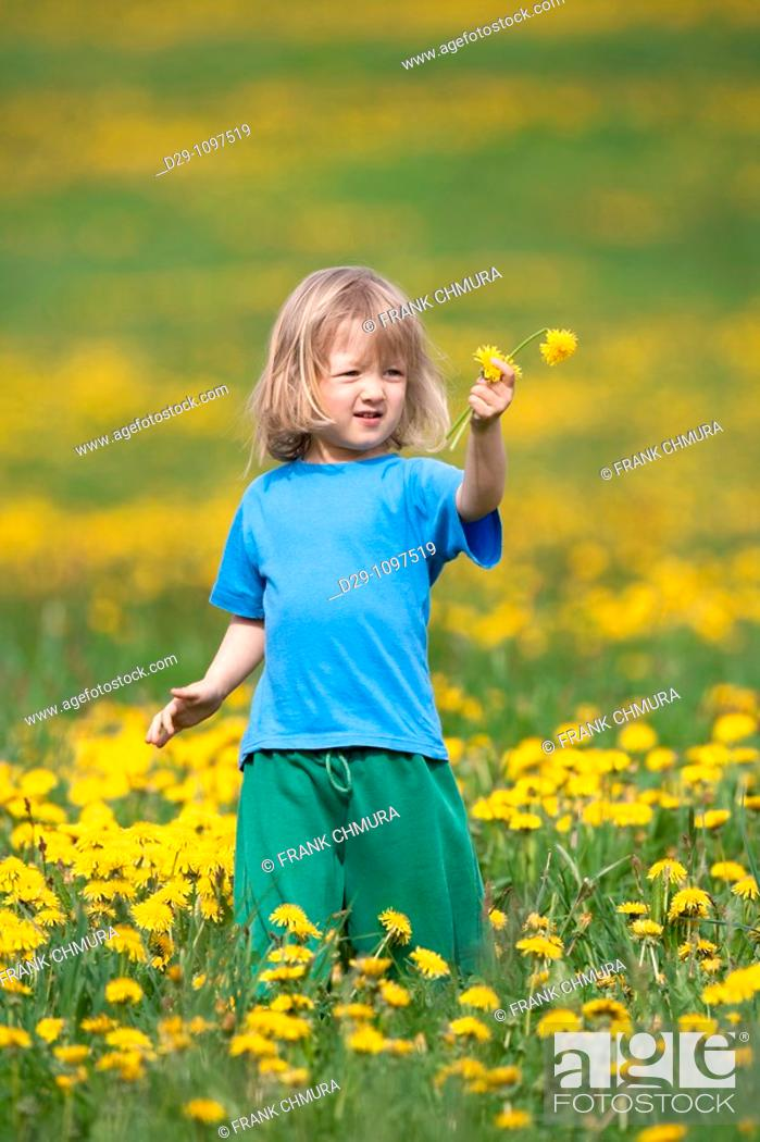 Stock Photo: boy with long hair standing in a dandelion field.