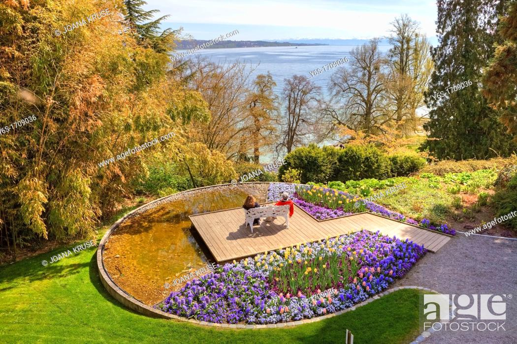 Stock Photo: Flower Island Mainau, break in the park, Lake Constance, Baden-Wurttemberg, Germany.