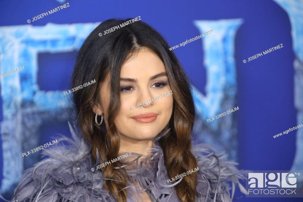 """Stock Photo: Selena Gomez at Disney's """"""""Frozen II"""""""" World Premiere held at the Dolby Theatre in Hollywood, CA, November 7, 2019. Photo Credit: Joseph Martinez / PictureLux."""