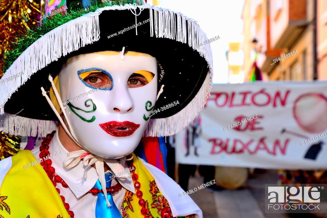Stock Photo: Puchos of Buxan. Entroido and parade of Viana do Bolo, Orense, Spain.