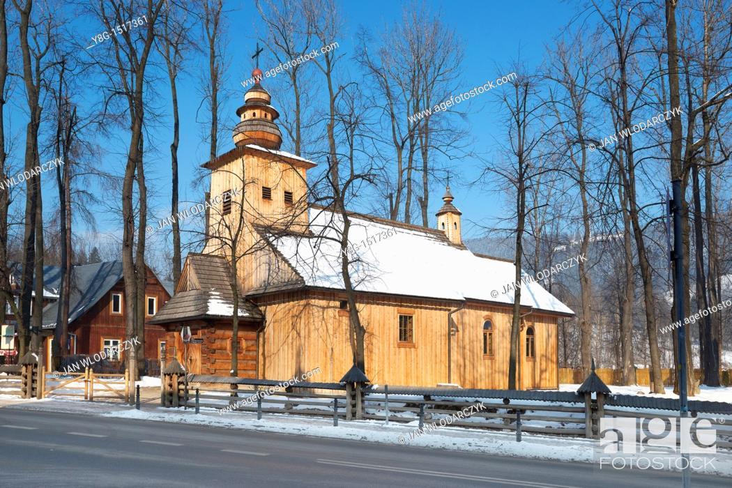 Stock Photo: Wooden church in Zakopane, Poland, Europe.
