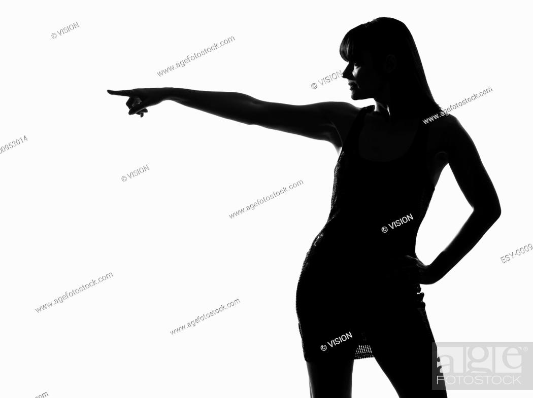 Stock Photo: stylish sexy silhouette caucasian beautiful woman profile poiinting on studio isolated white background.