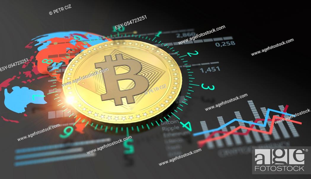 Stock Photo: Cryptocurrency Bitcoin and virtual financial currency market exchange. Virtual future money.