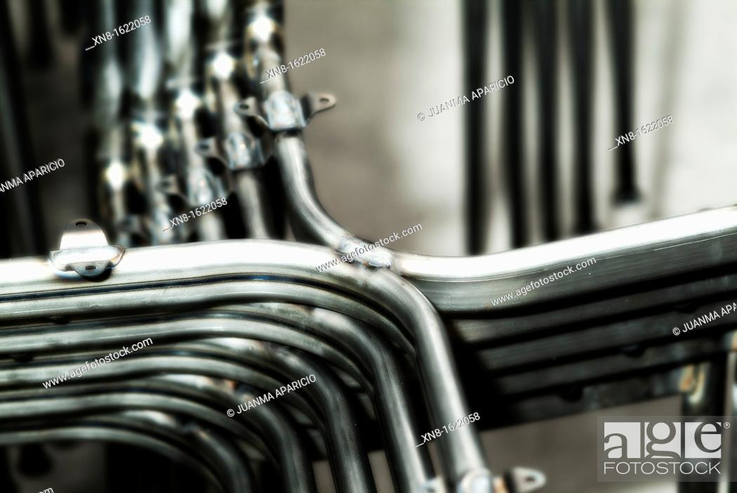 Stock Photo: Metal structures for the construction of chairs.