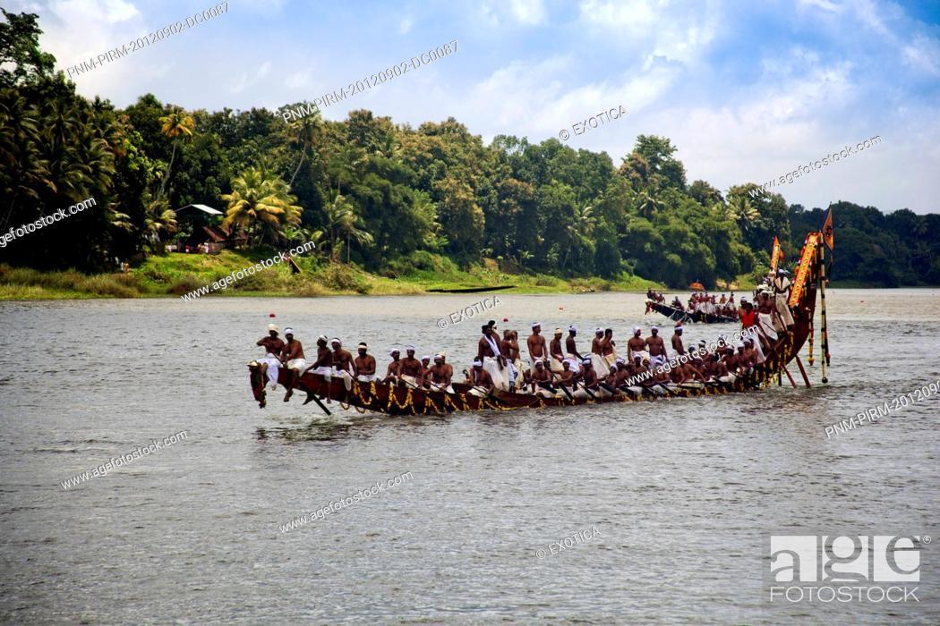 Stock Photo: Snake boat race on Pampa River at Onam Festival, Aranmula, Kerala, India.