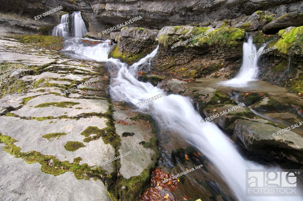 Stock Photo: view of a waterfall in Ordesa Valley, Pyrenees, Huesca, Aragon, Spain.