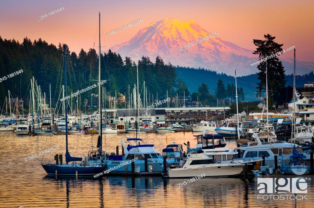 Stock Photo: This photo was taken at sunset in the small town of Gig Harbor in Washington state        The equipment used was a Canon 5D Mk II with an EF 70-200/4L IS lens.