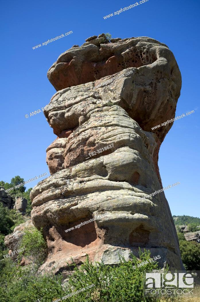 Stock Photo: Rocky landscape, Sierra de Albarracin, Teruel province, Spain.