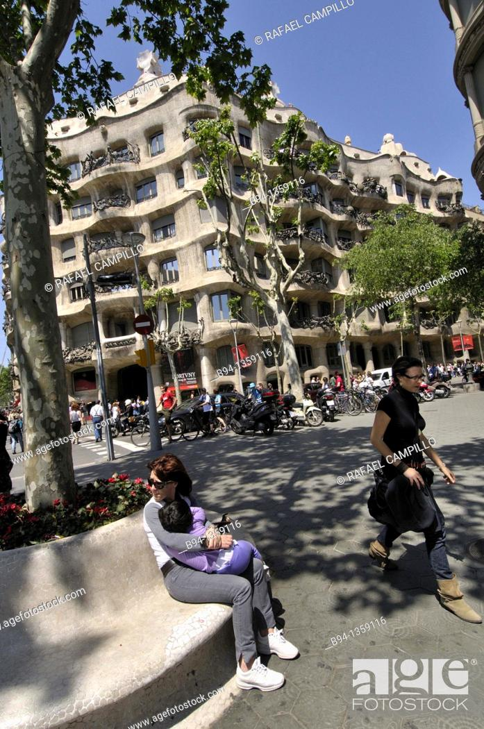 Stock Photo: Mila House (aka La Pedrera) by Gaudi, Barcelona, Catalonia, Spain.
