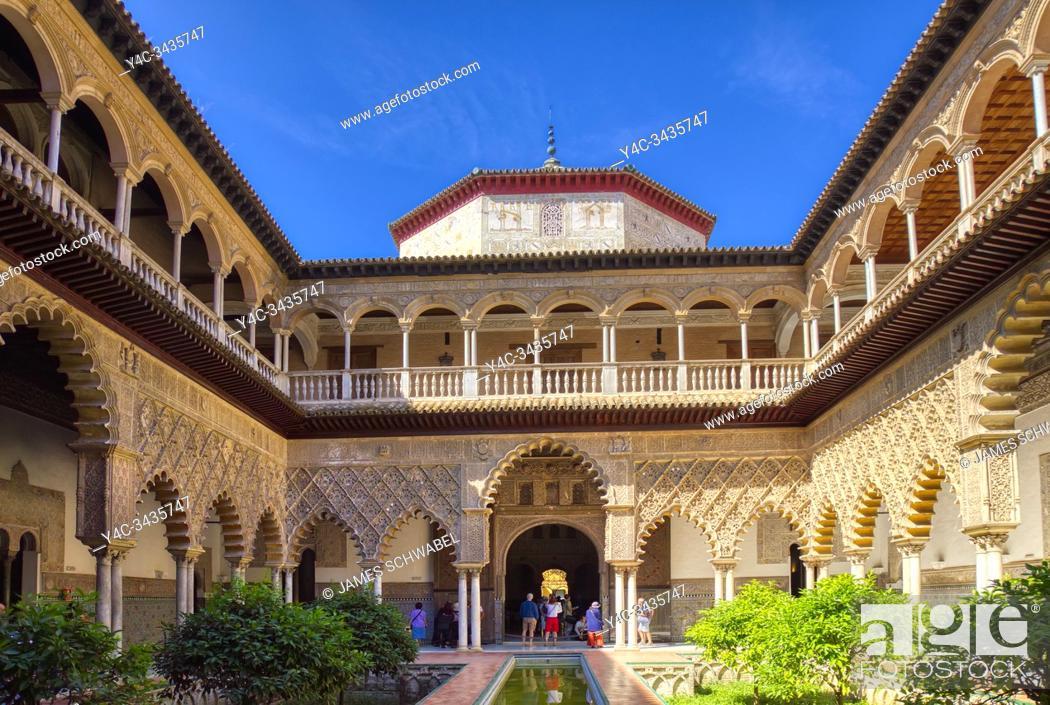 Stock Photo: Real Alcazar de Sevilla, The Royal Alcázar of Seville is a royal palace in Seville Andalusia Spain.
