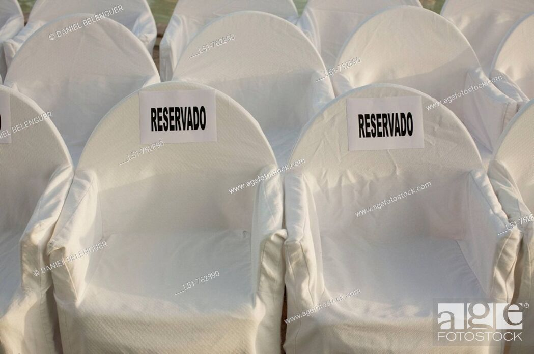 Stock Photo: chairs for ghests on a Countryhouse during a wedding, Betera, Valencia, Comunidad Valenciana, Spain, Eerope.