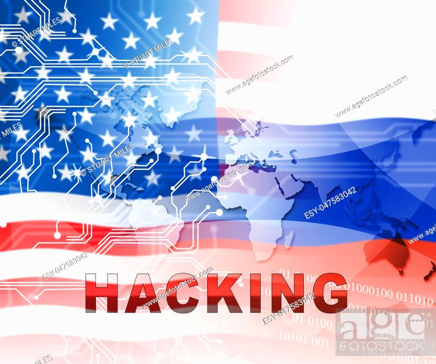Stock Photo: Russia Hacking American Elections Data 2d Illustration Shows Kremlin Spy Hackers On Internet Attack Usa Election Security Or Cybersecurity.