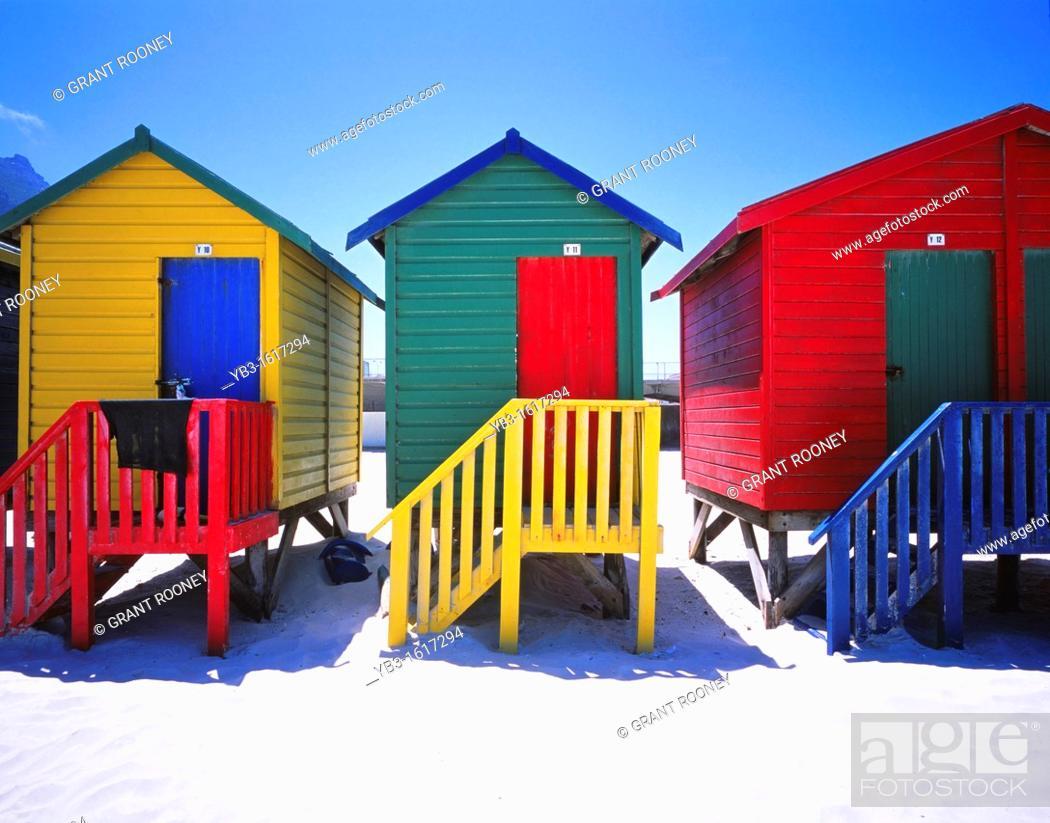 Stock Photo: Muizenberg Beach & Colourful Beach Huts, Muizenberg, Cape Peninsula, West Cape Province, South Africa.