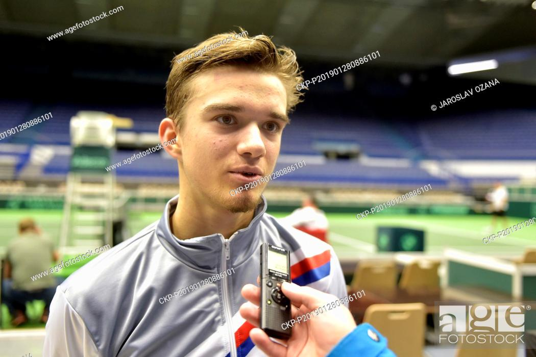 Stock Photo: Czech tennis player Tomas Machac in action during the training session in Ostrava, Czech Republic, January 28, 2019. In the new Davis Cup format.
