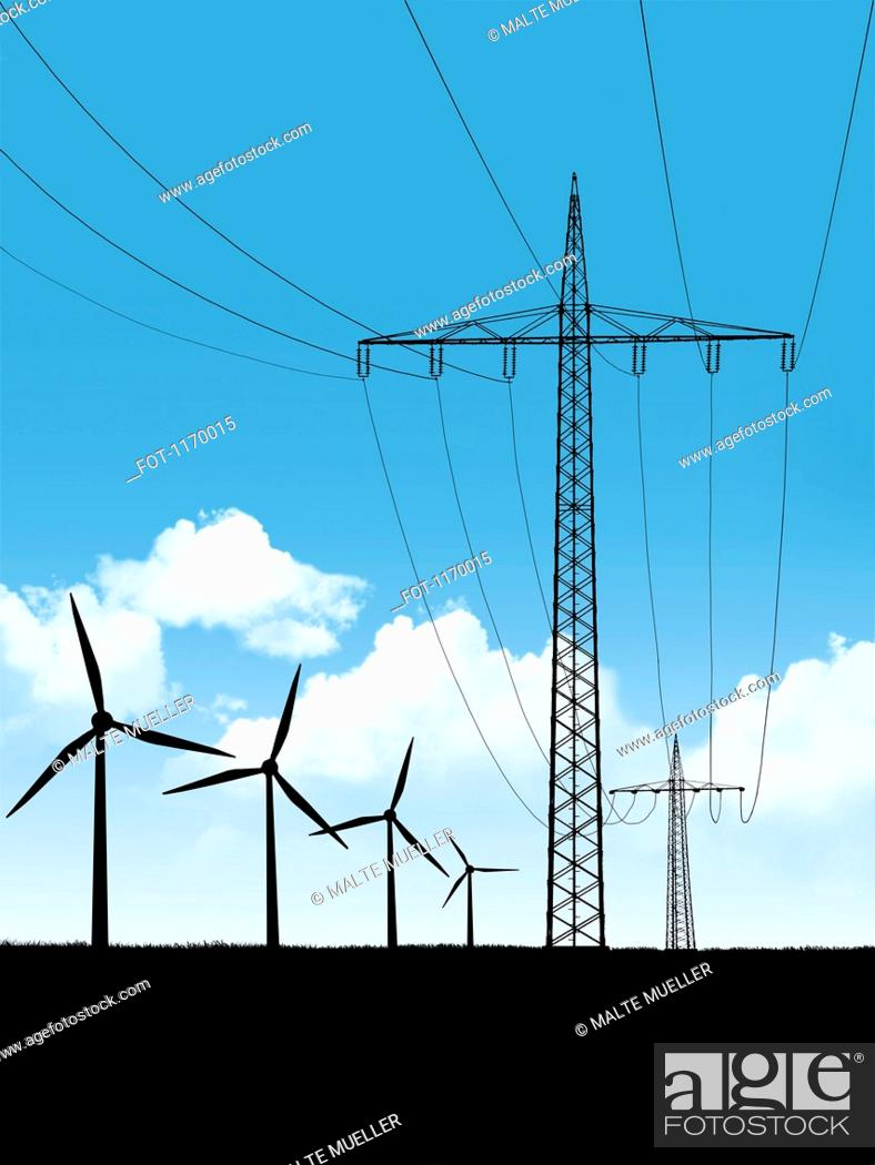 Stock Photo: Electricity pylons and wind turbines.