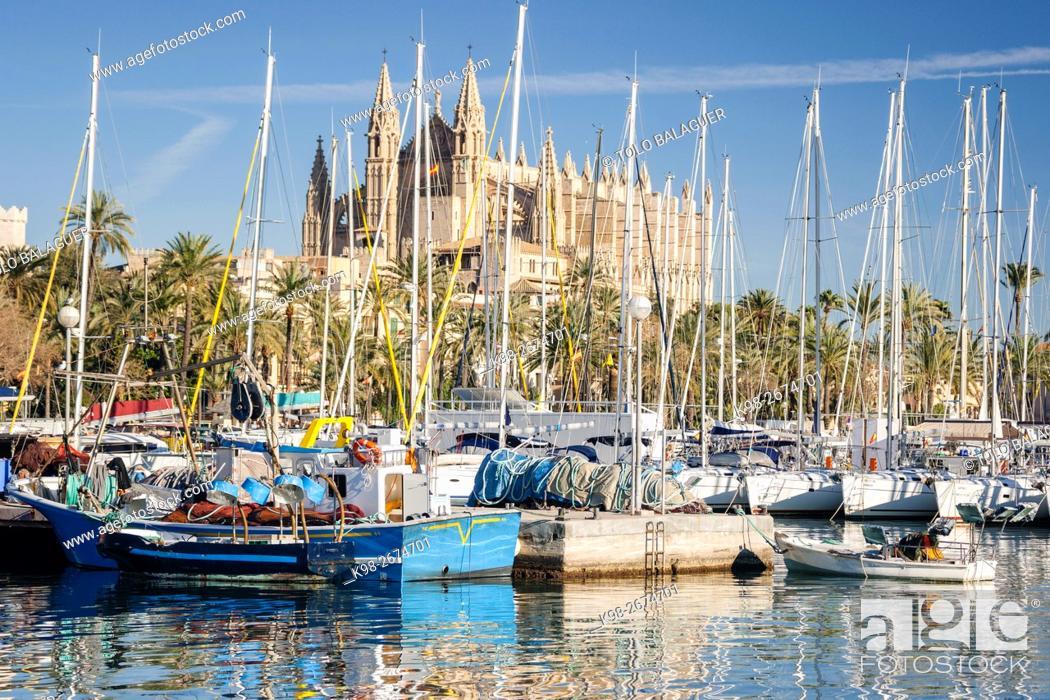 Stock Photo: Catedral de Palma desde Moll de la Riba, Palma, Majorca, Balearic Islands, Spain.