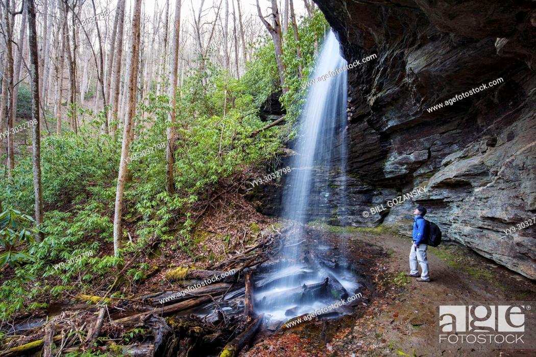 Stock Photo: Hiker at Little Moore Cove Falls - Pisgah National Forest, Brevard, North Carolina, USA.