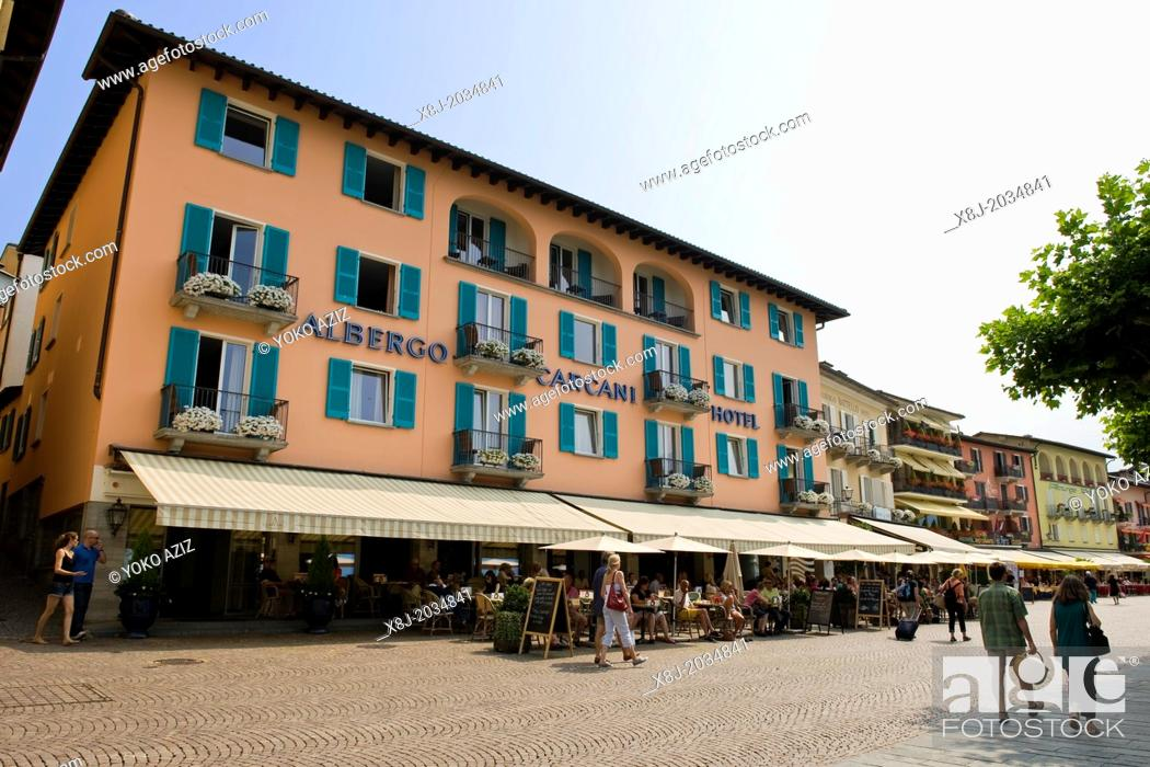 Stock Photo: Switzerland, Canton Ticino, Ascona, Albergo Carcani.