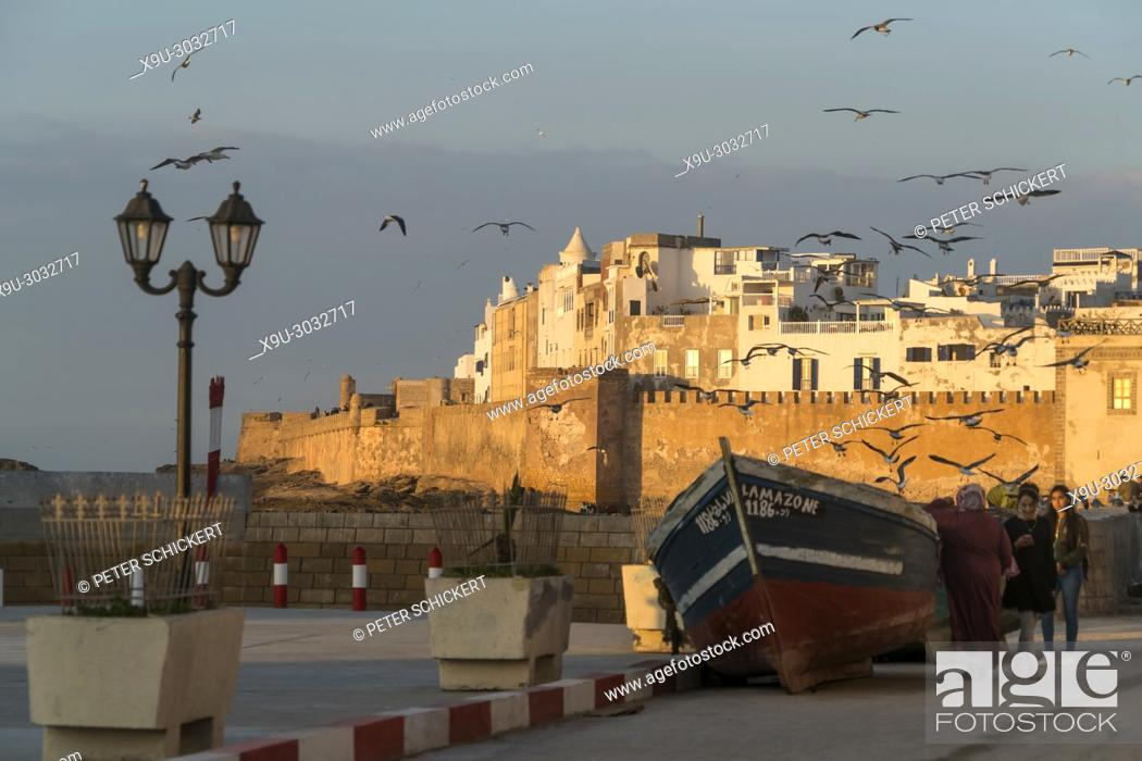 Stock Photo: city wall and medina on the coast in Essaouira, Kingdom of Morocco, Africa.