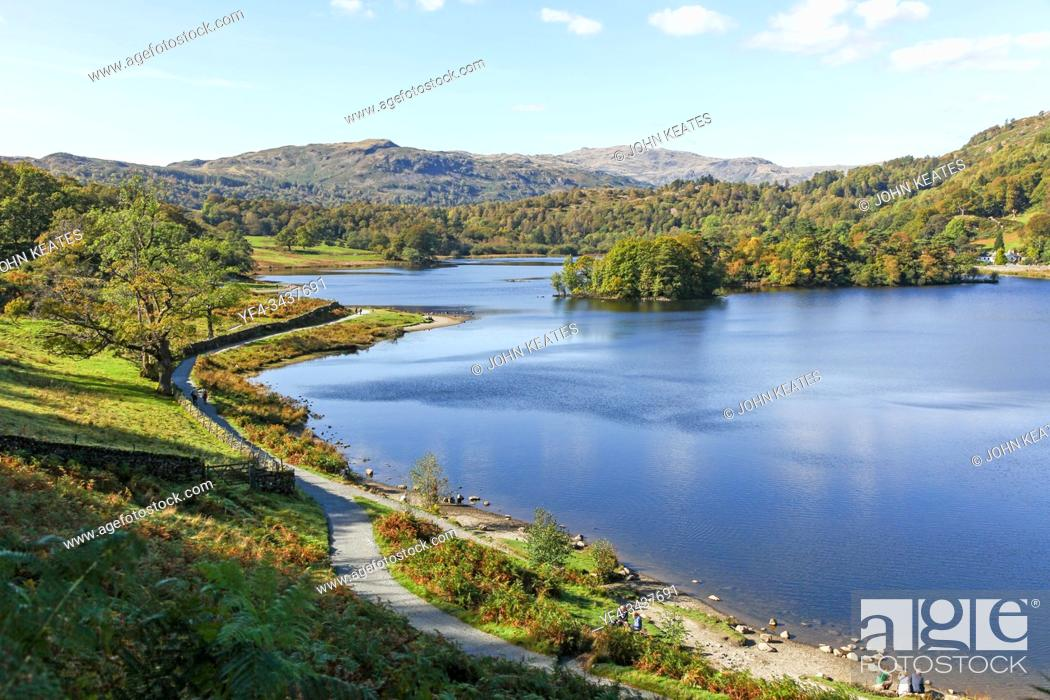 Stock Photo: Rydal Water in the English Lake District National Park, Cumbria, England UK.