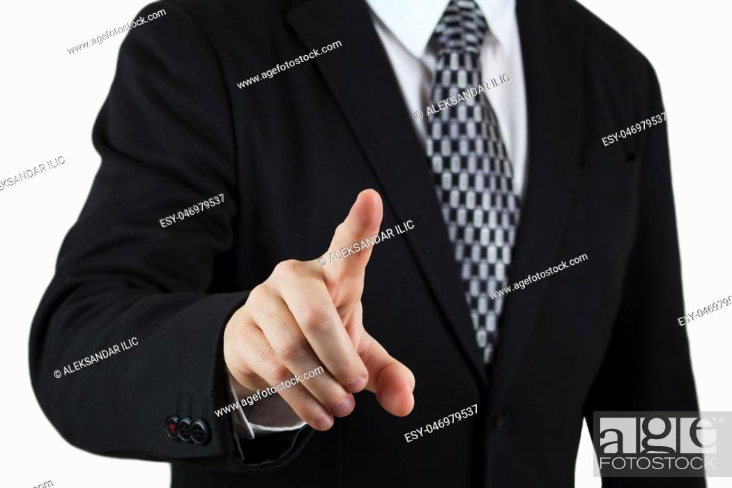 Stock Photo: Businessman in Black Suit Pointing Index Finger Towards Camera. Focus On The Hand and Finger. Isolated On White Background.
