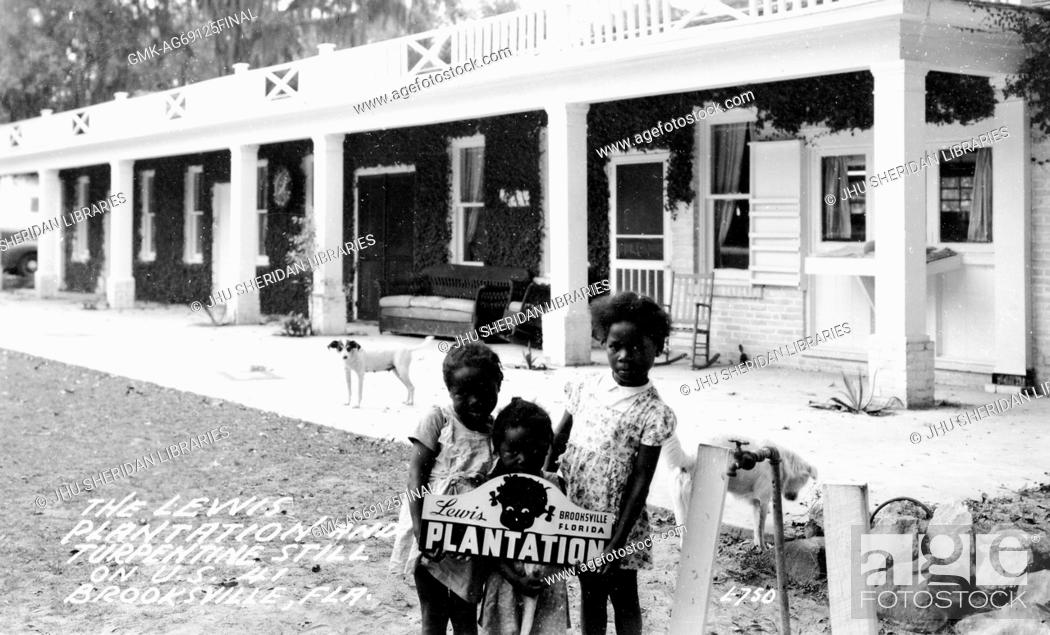 "Imagen: Three young African American girls with neutral expressions stand outside with a """"Lewis Plantation"""" sign on the plantation, in front of housing."