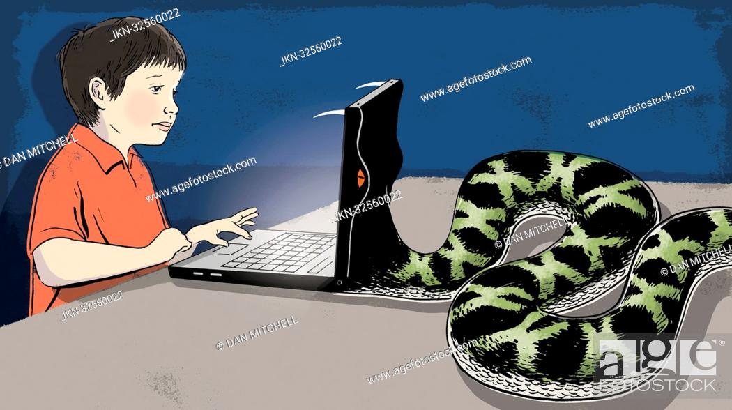 Imagen: Snake eating laptop of a boy.