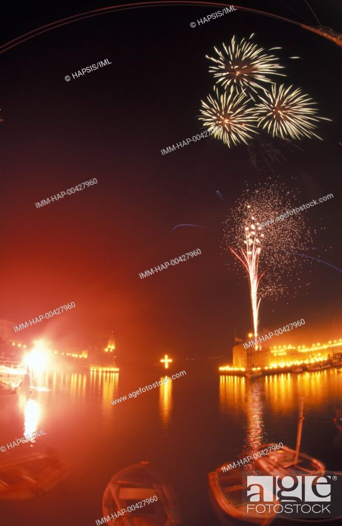 Stock Photo: Easter, lighted torches placed on the fortress, fireworks Nafpaktos, Central Greece, Greece.