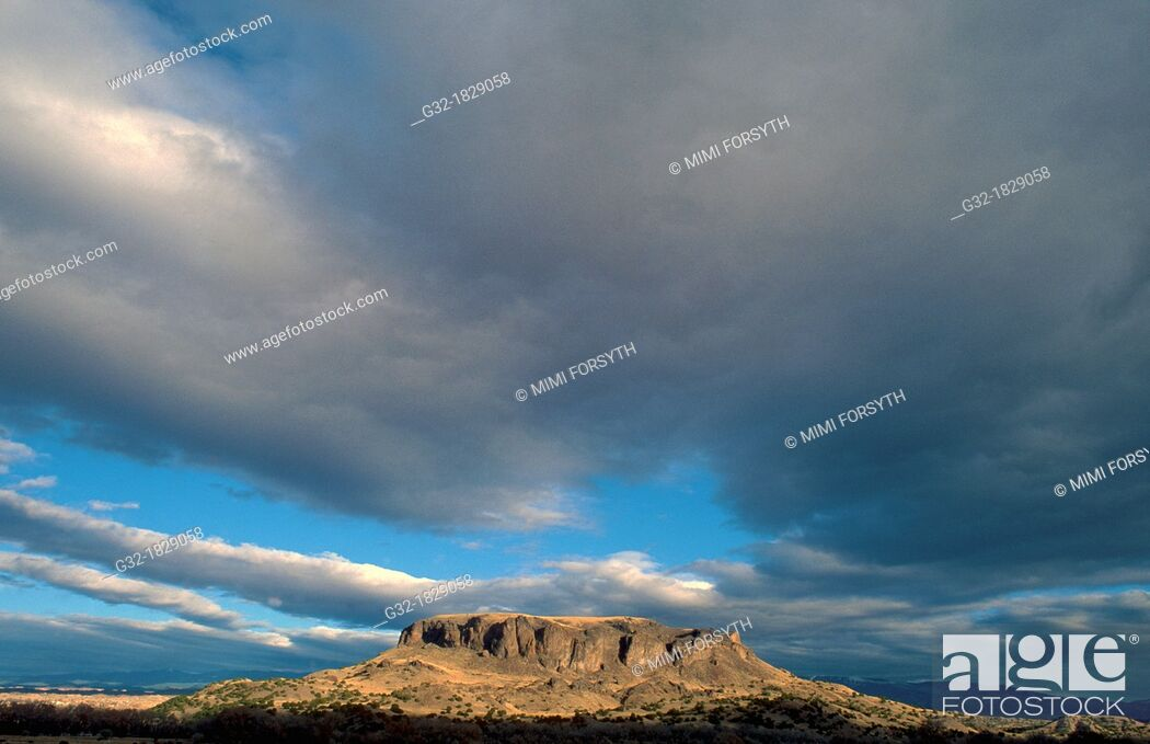 Stock Photo: Black Mesa, San Ildefonso Pueblo, northern New Mexico, USA The mesa is considered sacred to the pueblo.