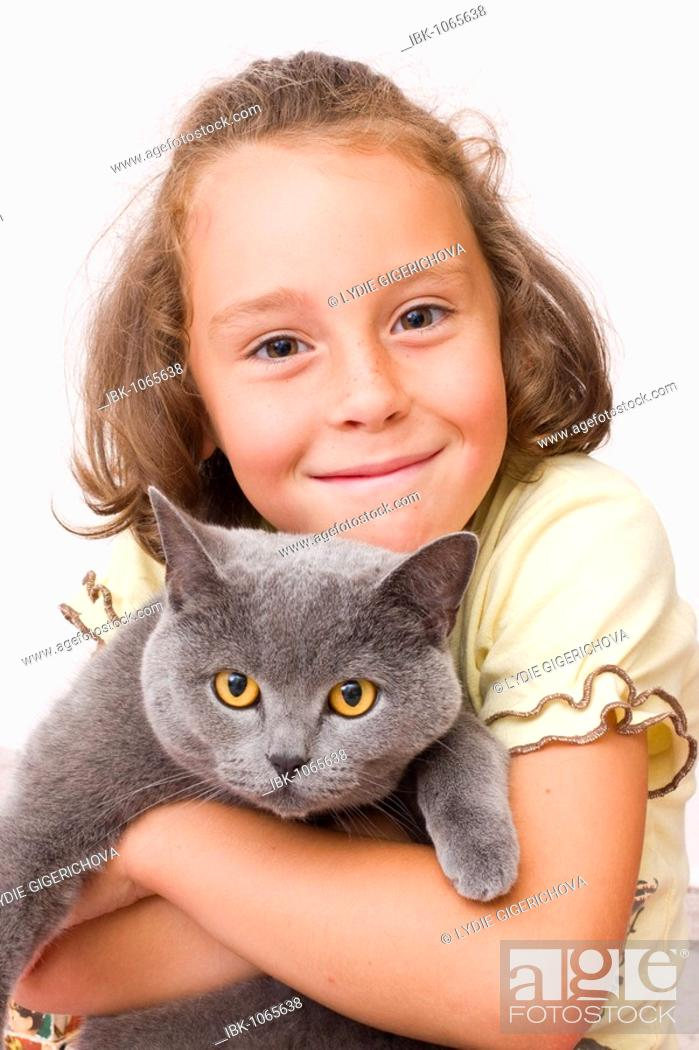 Stock Photo: Girl, 6 years old, with British Shorthair cat, blue.