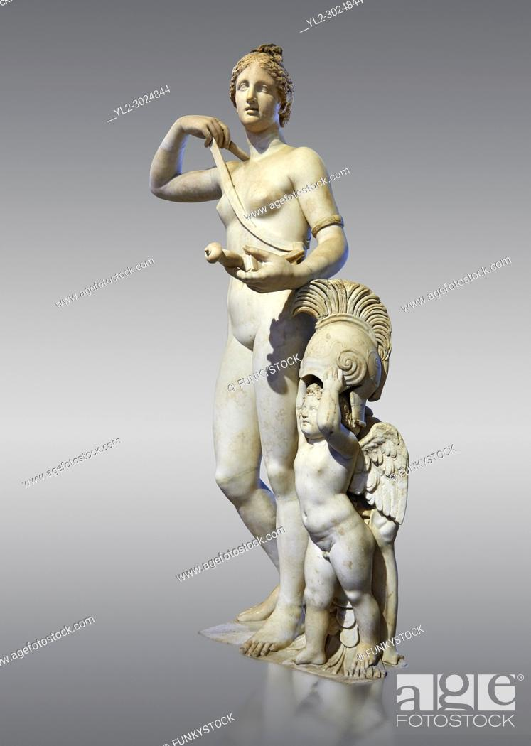 Stock Photo: Venus (Aphrodite) in Arms. A 2nd century AD marble Roman statue completed in the 16th century. The so called Venus in Arms shows Venus with a sword and armour.