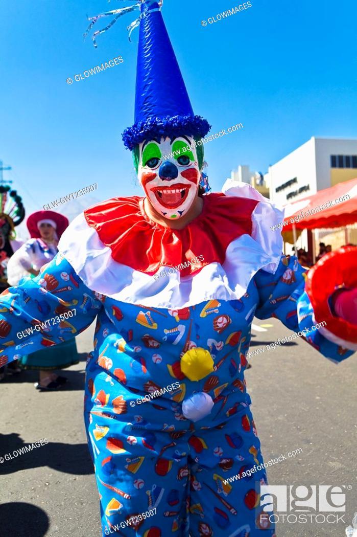 Stock Photo: Close-up of a clown, Arequipa, Peru.